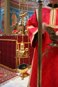 The incense being prepared during a Liturgy of St. Basil the Great.